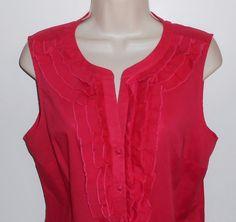 Ann Taylor LOFT M Blouse Pink Sleeveless Ruffle NEW NWT Medium Shirt…