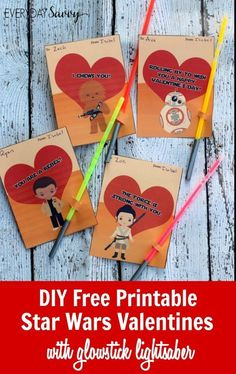 DIY Star Wars Valentines Cards with free printable. Includes Rey, Finn, BB8 and Chewbacca. Instructions for DIY glowstick lightsaber. These are great for your kids to hand out at school and are perfect for both boys and girls. These are so simple to make and you only need a few supplies. crafts tutorial idea