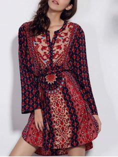 Retro Style V Neck Long Sleeve Ethnic Print Self Tie Belt Dress For Women Print Dresses | RoseGal.com Mobile