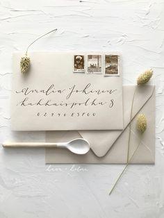 Nude beige envelopes with brown metallic address calligraphy for modern romantic boho scandinavian wedding invitations Nordic Wedding, Scandinavian Wedding, Calligraphy Envelope, Modern Calligraphy, Luxury Wedding, Boho Wedding, Invites, Wedding Invitations, Powder Pink