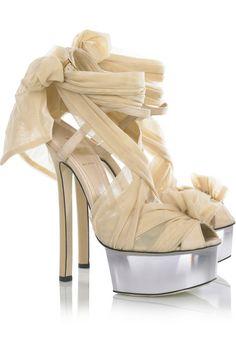 Spring 2010 Fendi tulle-embellished suede sandals.