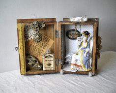 Mixed Media Box Assemblage MOLLIE DARLING Altered Art Vintage Found Objects Shadowbox