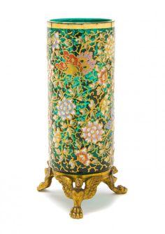 Moser Enameled Emerald Glass Vase