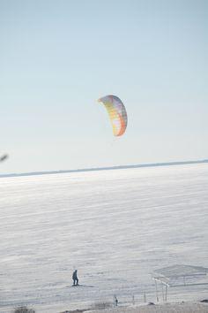 Kitesurfing on ice