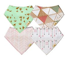 Gift it Baby Bandana Drool Bibs Unisex 4Pack Gift Set for Drooling and Teething 100 Organic Cotton Soft and Absorbent  for Boys and Girls Pink arrows and birds set ** You can find out more details at the link of the image.