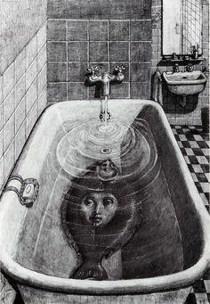 Illustration by Edward Gorey Edward Gorey, Arte Obscura, Italian Painters, Italian Artist, Creepy Art, Creepy Paintings, Bizarre Art, Oil Paintings, Arte Horror