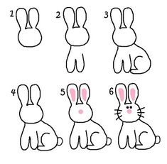 How to draw a bunny drawing lessons, art lessons, bunny crafts, crafts for Drawing Lessons, Art Lessons, Drawing For Kids, Art For Kids, Easy Bunny Drawing, Happy Home Fairy, Directed Drawing, Bunny Crafts, Step By Step Drawing