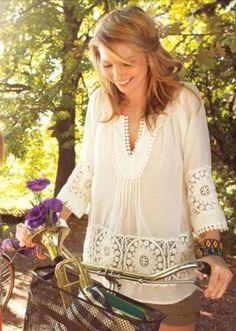 Sunshine, flowers, springtime, bicycle,  boho blouse, & bracelets. All good things
