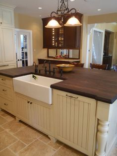 Addition to remodeled kitchen traditional kitchen #woodcountertop #woodtop