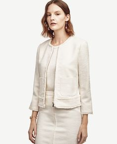 Can't go wrong with a ladylike, Fringed Tweed Jacket, to throw on with jeans/slacks/skirt