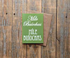 Míle Buíochas card   Irish many thanks card and the perfect teacher thank you card