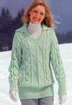 Теплый зеленый пуловер (спицами) - Вязанки.РУ - Все о вязании
