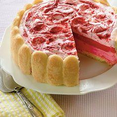 Strawberry Semifreddo Shortcake:  Made with strawberries, ladyfingers, strawberry sorbet, and marshmallow creme.
