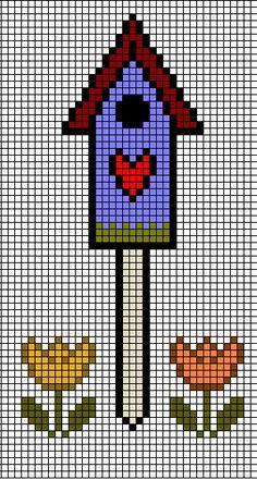 Schemi punto croce a colori gratis per ricamare Case