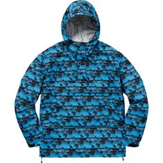 Supreme World Famous Taped Seam Hooded Pullover ❤ liked on Polyvore featuring tops, sweaters, blue top and blue sweater