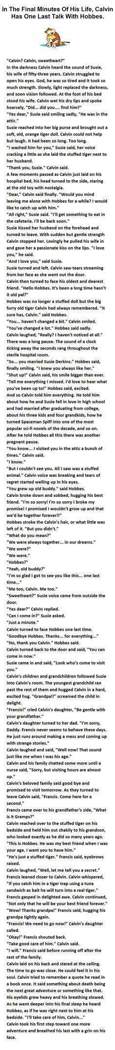 Calvin and Hobbes. In the final minutes of Calvin's life, he has one last talk with Hobbes.