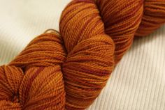 Leaf Litter: This deep pumpkin color, with red highlights, comes from pokeberry-dyed yarn overdyed with turmeric.