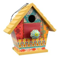 """Bohemian flair with function that any bird would be happy to call home! Hanging birdhouse offers the perfect nest site and refuge for smaller songbirds with great color for the garden. 1.25"""" entry is"""