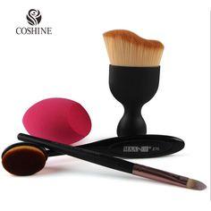 Coshine Oval Contorno Foudation Cepillo Crema de Sombra de Ojos Cepillo de Kabuki 82 Maquillaje Cepillo Ovalado Con Milagro Real Licuadora Esponja