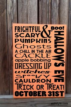 Halloween Decorations Halloween Sign Halloween Decor Fall Decor Spooky Pumpkins Scary Cackle Witches Trick or Treat Typography Subway Sign - http://evilstyle.com/halloween-decorations-halloween-sign-halloween-decor-fall-decor-spooky-pumpkins-scary-cackle-witches-trick-or-treat-typography-subway-sign