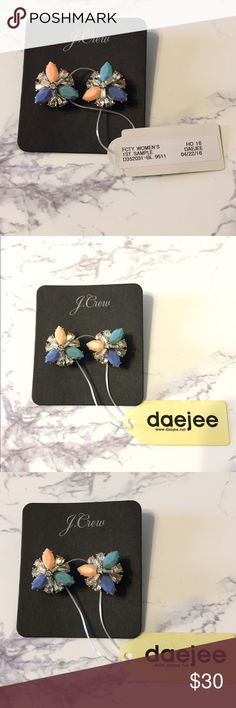 Daejee for J.crew crystal cluster earrings NWT/ PRODUCT DETAILS A cluster of colorful crystals add the perfect pop.  Brass casting, epoxy stone, glass stone. Light gold ox plating. Import. J. Crew Jewelry Earrings