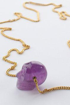 Spell Designs Petite Amethyst Skull Necklace