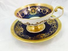 Vintage Aynsley Bone China Cobalt Blue White and Gold Gilt