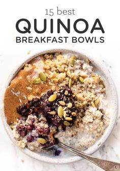 Bye bye oatmeal, HELLO Quinoa Breakfast Bowls! Sharing our 15 best healthy quinoa breakfast recipes that are vegetarian or vegan and gluten free! Sweet or savory, there's something for everyone on this list. #breakfastbowl #quinoabowl #quinoabreakfast Quinoa Breakfast Bowl, Apple Breakfast, Savory Breakfast, Healthy Breakfast Recipes, Vegetarian Recipes, Breakfast Ideas, Healthy Quinoa Recipes, Quinoa Bowl, Healthy Breakfasts
