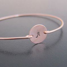 Rose Rose Gold Initial Bracelet, Personalized Rose Gold Bracelet, Monogram Bracelet, Rose Gold Bridesmaid Jewelry, Rose Gold Bangle Bracelet