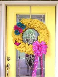 GOT TO TRY TO MAKE SOMETHING LIKE THIS... Summer Burlap Wreath - SKU 04011 on Etsy, $79.00
