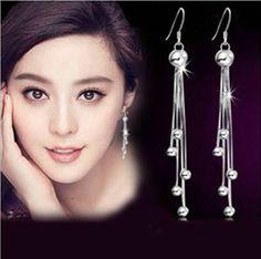 925 ángel de plata pendientes retro de moda pendientes largos de la borla oreja espárragos para mujeres de la joyería