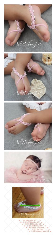 Glamour Pink Baby Barefoot Sandals with Pearls  These Glamour Pink Baby Barefoot Sandals with Pearls are just perfect for any age! The front part of this sandal will not stretch but there is enough stretch elastic on the back for a perfect fit.  All my products are designed to make your baby look beautiful while feeling really comfortable.  Perfect for photo shoots and to wear to a special occasion.