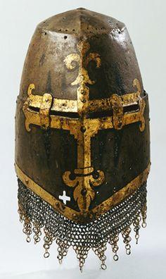 Great helm, Heaume, Topfhelm, 14th century. Iron. Germanisches Nationalmuseum, Nuremberg
