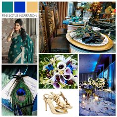 Green Blue Gold #Wedding Inspiration    https://pinklotusevents.wordpress.com/2013/01/14/color-board-green-blue-and-gold/ FOR A.O