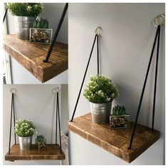 Rope Shelf Hanging Shelf Gold Hoops Scaffold Board - Hanging Rope Shelf Scaffold Board Shelves Rustic Rope Shelf Wooden Shelf Plant Shelf Plant Display Reclaimed Wood Wall Decor More Information Find This Pin And More On Decorating Idea Hanging Rope Shelves, Plant Shelves, Floating Shelves, Garden Shelves, Hanging Baskets, Wooden Shack, Scaffold Boards, Rustic Shelves, Wooden Wall Shelves