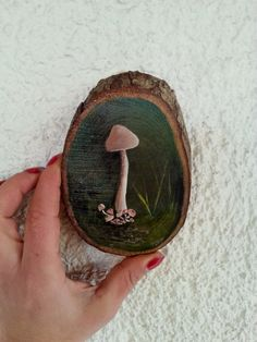 Forest mushroom, hand painted Tree Branch, rustic decor,mushroom painting , original painting, hand painted wood, Home Décor by AxiKedi on Etsy