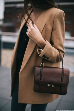 Camel coat + chocolate brown handbag