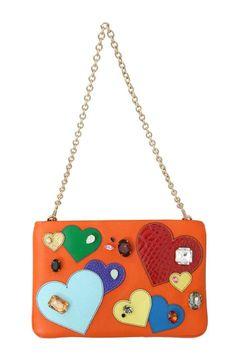 Orange CLEO Leather Heart Crystal Clutch Bag – Zetabrands