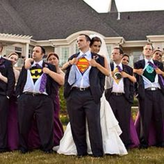 Wedding Photo idea. I can totally see John geeking for this. ;) Would have to be a coolish day though or they would be sweaty superheroes- just sayin'!!