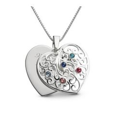 Personalized Sterling Silver 5 Birthstone Family Heart Necklace Gift