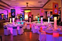 iPod Themed Bat Mitzvah Event Decor   Glowing Adult Centerpieces Party Perfect Boca Raton, FL 1(561)994-8833