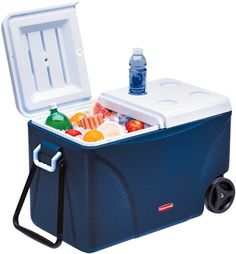 Rubbermaid 75 qt Wheeled Cooler Ice Chest Cold Blue Outdoor Travel Camping for sale online Ice Chest Cooler, Ice Cooler, Food Cooler, Patio Cooler, Outdoor Cooler, Cooler With Wheels, Cooler Reviews, Large Cooler, Camping Gear