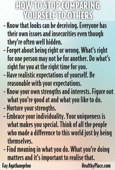 """""""Comparing yourself to others harms your self-esteem. Learn how to stop comparing yourself to others here."""" www.HealthyPlace.com"""
