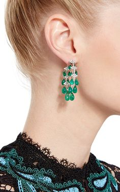 18K White Gold Hoop Earrings with Emerald Drops - Giovane Resort 2016 - Preorder now on Moda Operandi