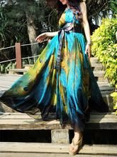 Green Crew Neck Boho Swing Printed Holiday Dress with Belt