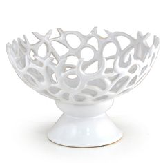 Regalia Decorative Bowl with Stand Lucky Clover Trading is a wholesale baskets distributor and importer of baskets wholesale through a wholesale gift basket suppplies company. Wedding Theme Inspiration, Ocean Sounds, White Home Decor, White Houses, Decorative Bowls, Kitchen Decor, Sweet Home, Ceramics, Fruit