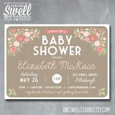 Sweet Pink Shabby Chic Rustic Floral & Kraft DIY Printable Baby or Bridal Shower Invitation 5x7 format - custom text. $12.50, via Etsy.