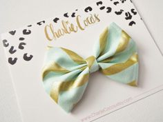 Baby/Girls Fabric Bow-Mint and Gold Hair Bow Clip, Metallic Gold Sparkle Chevron Hair Bow by Charlie Coco's on Etsy, $7.95