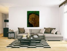 Stylish, decor, lion, painting, portrait, wildlife, animal, brown, green, canvas print,beautiful,modern,wall,art,awesome,cool,in style,amazing,elegant,chic,artistic,unique,fancy,beautiful,fantastic,gorgeous,terrific,artwork,for,sale,home,office,interior,design,decorating,fine,items,ideas, pictorem