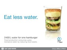 food production consumes water.conserve water by reducing food waste.